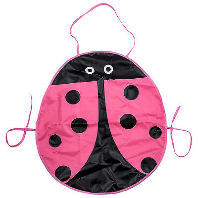 Waterproof Painting Apron Pattern beetle for the children's craft Costume pink