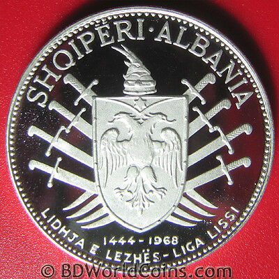 1968 Albania 5 Leke Silver Proof Sword Victory Over Turks Rare Mint=8,540 Coins!