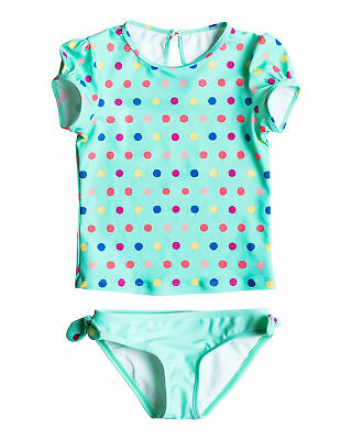 NEW ROXY™  Girls 2-7 Rainbow Dots Short Sleeve Lycra Rash Vest Set Girls Surf