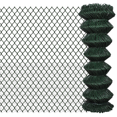 Green Galvanised Steel Mesh Wire Chain-link Fence PVC Coating 1.25x15m 60x60mm