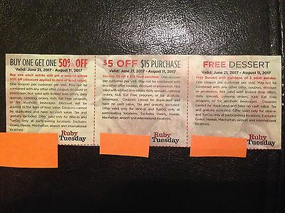Ruby Tuesday Coupon $5 off $15 purchase Expiration 08/11/2017