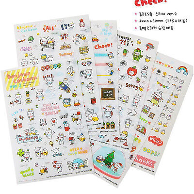 Cute Cartoon Cat  Stickers For Diary Day Planner & Organizer Scrapbook 6 sheets