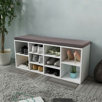 Wooden Shoe Cabinet Rack Storage Organiser Bench Fabric Top Hall Entryway White