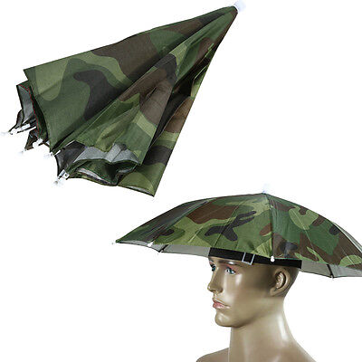 Foldable Outdoor Headwear Umbrella Hat Cap Camouflage Sun Fishing Hiking Cover