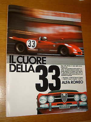 Alfa Romeo 33 Junior Spider Corse Gt Anno 1971 =Pubblicita=Advertising=Werbung
