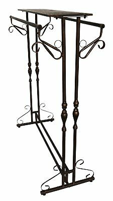 Wardrobe clothes rail hatrack metal shelf stand antique style brown