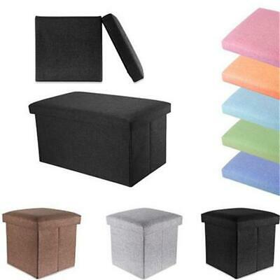 Storage Bench Ottoman Linen Look Toy Box Foldaway Bank Seat Foot Stool Rest