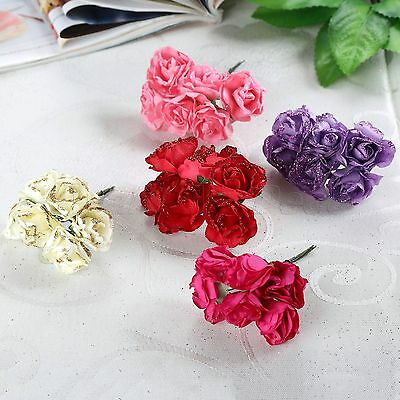 36/144pcs 2.5cm Artificial Flower Edge Glitter Rose Bouquets Wedding Party Décor