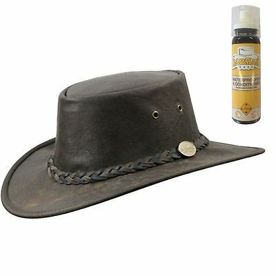 Barmah Squashy Roo Brown Crackle & FREE SPRAY - Sombreros de cuero australiano