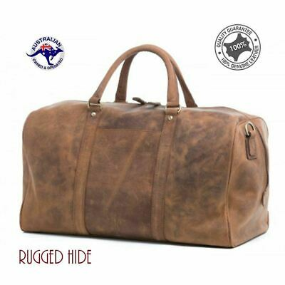 Genuine Rugged Hide Leather Mens Holdall Travel Sports Duffel Cabin Shoulder Bag