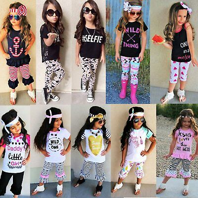 Toddler Kids Baby Girls Cotton Clothes Summer Beach Outfits T-shirt Tops+Pants