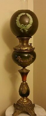 Antique Charles Parker Banquet Oil Lamp Embossed Bronze Converted 1885-1897 Rare