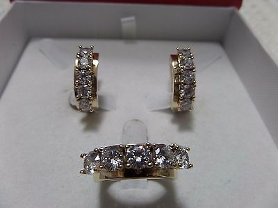 925 Silver Handmade Jewelry Fabulous White Cz Topaz Ring & Earring Ladies Set