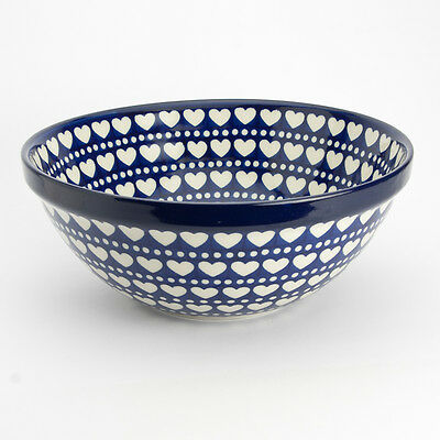 Polish Pottery 24cm Serving Bowl Heart to Heart