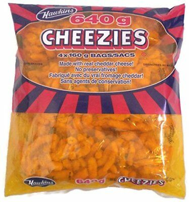 Hawkins Cheezies 640 Grams/22.5 Ounces - 4x160 g Bags {Imported from Canada}