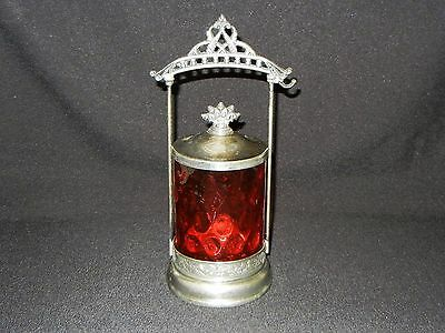 Antique Cranberry Optic Bubble Glass Pickle Caster Jar Crown Triple Silver Plate