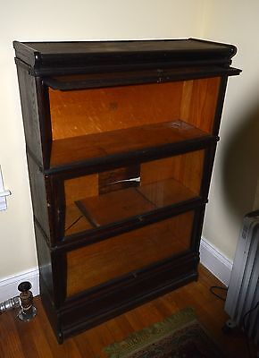 Macey Three Stack Barrister Lawyers Bookcase # 912 Finish 13 Mahogany Damaged