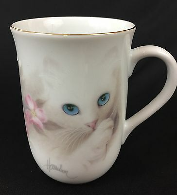 OTAGIRI Kitten Coffee Tea Porcelain Mug Bob Harrison Japan Gold Rimmed