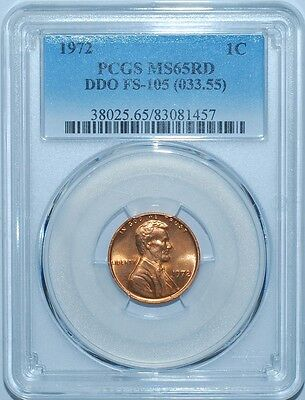 1972 PCGS MS65RD FS-105 Red DDO Doubled Double Die Obverse Lincoln Cent