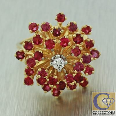 Vintage Estate 14k Solid Yellow Gold Ruby Diamond Floral Cluster Cocktail Ring