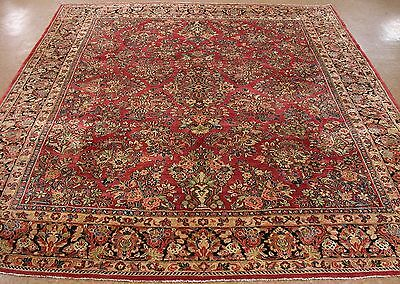 8 x 10 Antique Persian SAROUK Hand Knotted Wool ROSE NAVY Oriental Rug Carpet