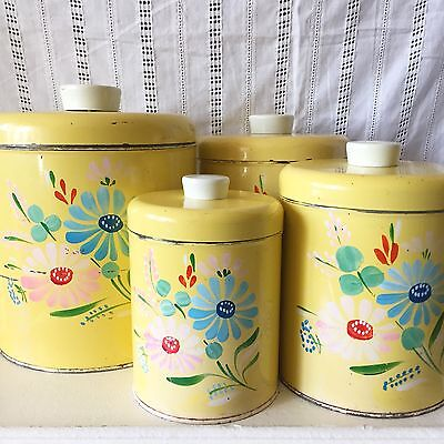 Vintage Hand Painted Ransburg Canister Container Yellow Floral Metal