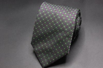 NWT $230 BRIONI Silk Tie. Green and Purple Geometric. Hand Made in Italy.