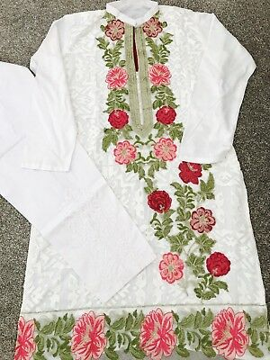 White Net Embroidered Shirt With & Trousers Eid Pakistan India
