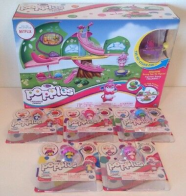 Popples Treehouse Playset Set w/ 5 Pop Up Figures Izzy Bubbles Lulu Yikes Sunny