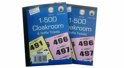 3 x cloakroom raffle tickets 1 500 tombola draw numbered colors