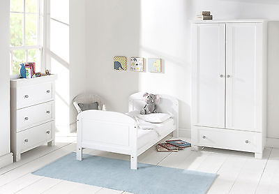 Solid Pine White Wooden Cot Bed Nursery Safety Bedroom Baby Kid Crib Furniture