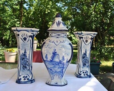 Delft Vintage Ceramic Hand Painted Lidded GarnitureUrn and Vase Trio