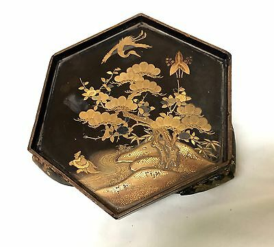 Antique Tray stand Box Asian 18K Gold inlay engraved Vintage Chinese Japanese