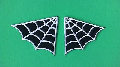 Pair of Spider Web Iron On Patches! New USA Seller Rock Metal Punk Goth
