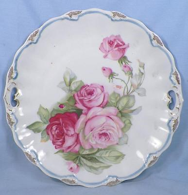 Antique Cake Cookie Plate Pink Mauve Roses Welmar Germany Porcelain Tray Beauty