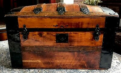 Antique Refinished Dome Top Trunk Storage Chest Casters