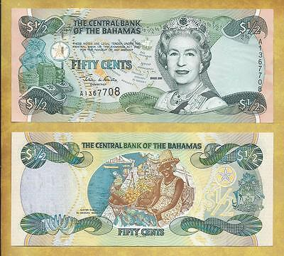 Bahamas 50 Cents 2001 Prefix A P-68 AU Currency Banknote ***USA SELLER***