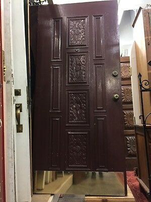 "Spanish Revival Spanish Mediterranean Style Carved Wood Detail Front Door 79""x35"