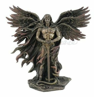 Six Winged Guardian Angel with Sword & Serpent Statue Figure HOME DECOR