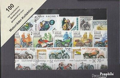 Motives 100 different Motorcycles stamps