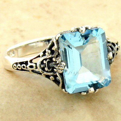 #1017 3 CT GENUINE SKY BLUE TOPAZ ANTIQUE STYLE 925 STERLING SILVER RING SIZE 9