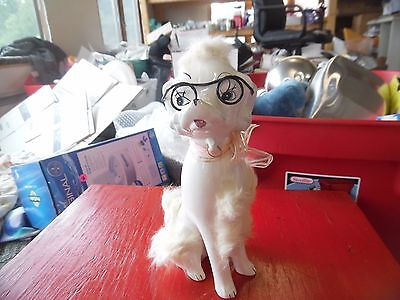 Vintage white ceramic tall poodle with glasses & 'fur'   -Japan