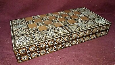 Old Inlaid Middle Eastern Game Backgammon Chess Board