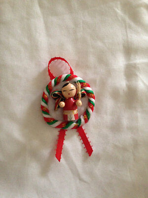 Girl Wood Holiday Pin Christmas Ornament