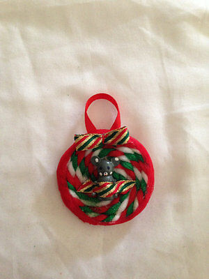 Gray Mouse Holiday Pin Christmas Ornament