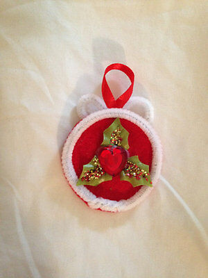 White & Red Heart Holiday Pin Christmas Ornament