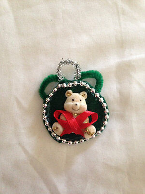 White Bear Red, Green & Silver Holiday Pin Christmas Ornament