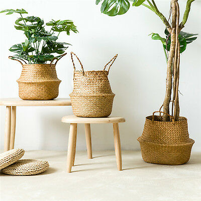 Seagrass Belly Basket Storage Plant Pot Foldable Nursery Laundry Bag Home Decor