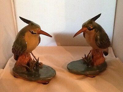 Kingfisher Pottery Birds, Pair Of Signed Oriental Pottery Birds