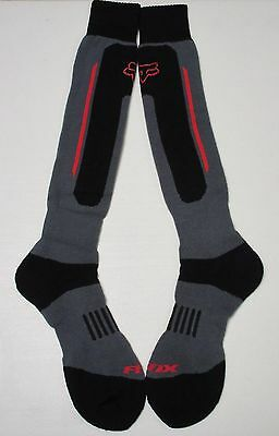 Fox Racing Black/gray W/ Red Stripe Line Mens Adult Long Crew Socks - Large *new